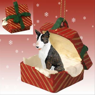 Bull Terrier Brindle Dog RED Gift Box Holiday Christmas ORNAMENT