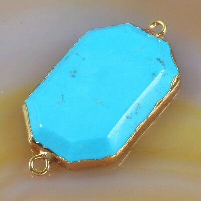 Blue Howlite Turquoise Faceted Connector Gold Plated T049602