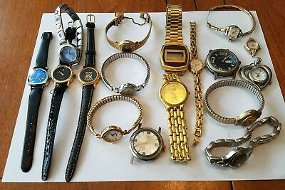 Lot of 17 Vintage to Now Watches Mixed Bulova,Greun,Mens,Womens,Wind Up,Quartz