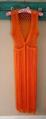 Vintage 70's True Orange Long Fringe Hippie Vest Medium to Large