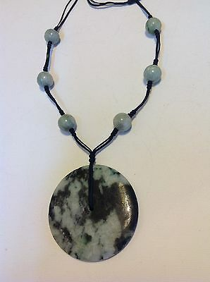 Antique original jewelry jade carved authentic pendant Chinese oriental (m1435)