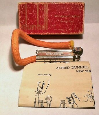 Vintage Military Trench DUNHILL Sterling Silver Rope Lighter With Box Papers