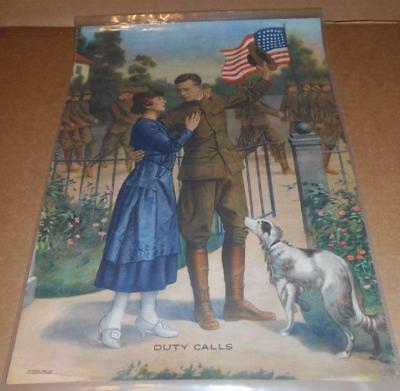 ORIGINAL Renesch Chicago 1918 DUTY CALLS lithograph poster WWI PATRIOTIC