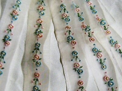 NOS 1940 MARSHALL FIELD&Co TINY EMBROIDERED ORGANDY FLOWER TRIM#2~DOLL/BABY