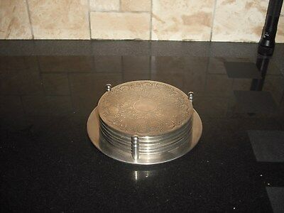 6 Silver Plated Coasters on Stand