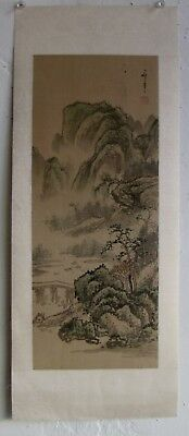 Fine Old Chinese Mountain River Landscape Silk Scroll Painting Artist SIGNED