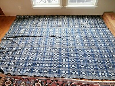 """Early Blue & Cream - Linsey Woolsey - Double Woven Coverlet - 108"""" X 78"""""""