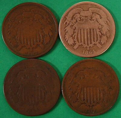 4 Piece Lot Two Cent Mixed Date United States 2 Cent Coins