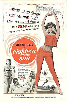 EIGHTEEN IN THE SUN orig1966 one sheet movie poster CATHERINE SPAAK/LISA GASTONI