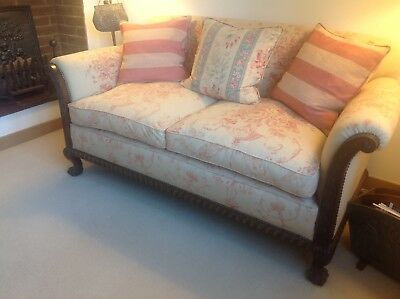 Beautifully Upholstered Antique Sofa, Settee, Couch With Carved Mahogany Frame