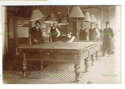 Old Postcard Billiards / Snooker Match Real Photo Vintage Used Earls Court 1915