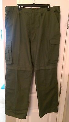 BSA Boy Scouts of America Uniform Olive Green Cargo Convertible Pants Relaxed 40