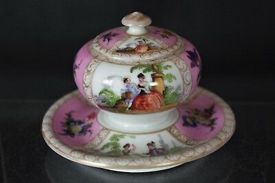 Beautiful Antique Meissen Augustus Rex Porcelain Lidded Pot - with mark