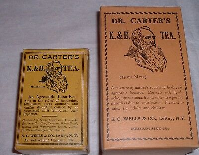 Antique 2 FULL Boxes Medical Quack Remedy Dr. Carter's K. & B. Tea C.1900