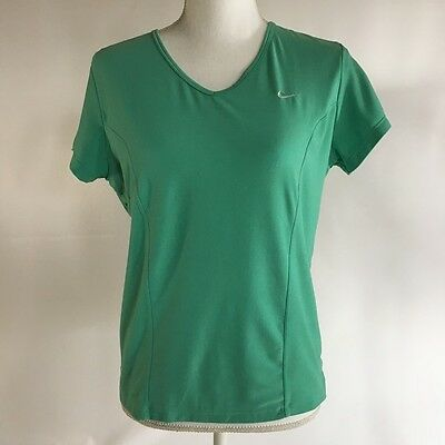 Nike Fit Dry Green V-Neck Short Sleeve Shirt Top Womens L Large