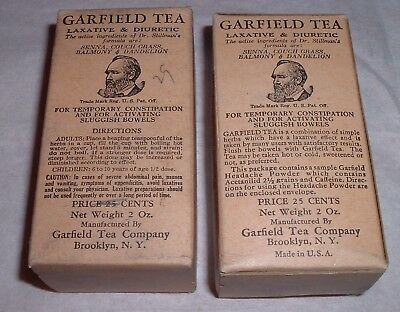 Antique 2 FULL Box Medical Quack Remedy President Garfield's Tea Sluggish Bowels