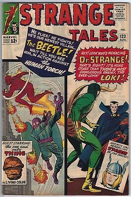 STRANGE TALES #123 (1964)  VERY FINE 7.5-8.0 unstamped cents,FIRST BEETLE