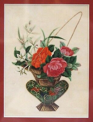 Fine antique 19th century Chinese Canton pith painting flowers