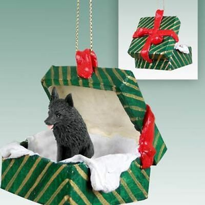 Schipperke Dog Green Gift Box Holiday Christmas ORNAMENT