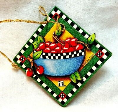 Mary Engelbreit Gift Tag Bowl of Cherries Christmas Ornament 3D Layered MINT