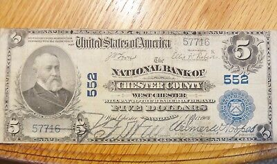 1902 United States National Currency Five Dollars - Chester County, PA