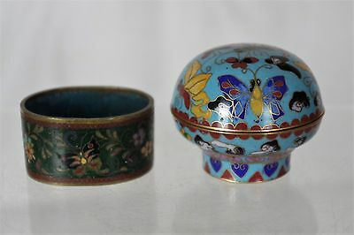Lovely Chinese Cloisonne Lidded Pot and Cloisonne Napkin Holder