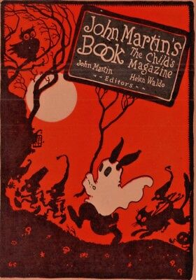 1924 D John Martins Book Ad Halloween Black Cat Gremlins Goblin Carlson Art