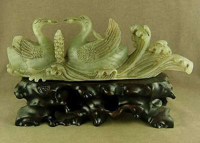 "7""large With Carved Bird Old Chinese Antique Jade Statue Two Swan On Billow"
