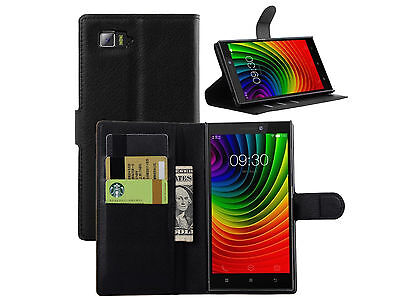 """PU Leather Flip Wallet Clip Stand Hard Case Cover Fit For 5.5"""" Lenovo Vibe Z2"""