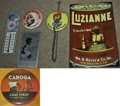 VTG Black Americana Ad LOT Aunt Jemima Button Luzianne Coffee Magnet Wall Hook