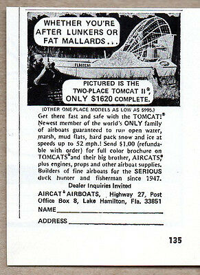 1972 Vintage Ad Aircat Two-Place Tomcat II Airboats Boat Lake Hamilton,FL
