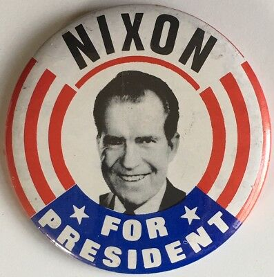 "Richard NIXON FOR PRESIDENT 3.5"" Pin Button 1968 Campaign Stars & Stripes"