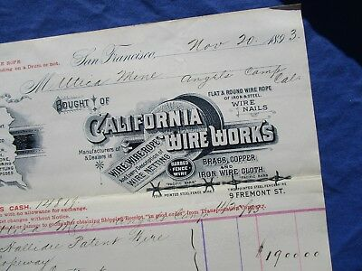 1893 GRAPHIC Telegraph/Telephone Wire Works MFG.,Barb Wire,San Francisco Letter!