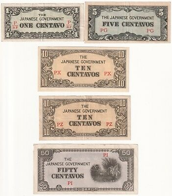 Lot of 16 Philippines Japanese Occupation Banknotes