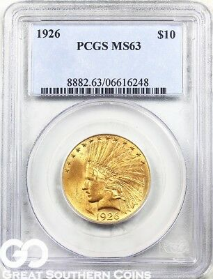1926 PCGS Gold Eagle, $10 Gold Indian PCGS MS 63 ** Fresh New Look!