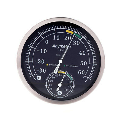 Analog Thermometer Hygrometer Stainless Steel Temperature Humidity Weather Meter