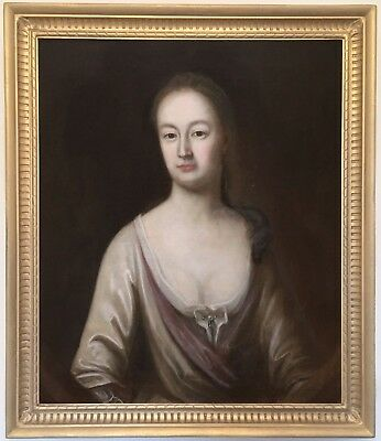Portrait of a Young Lady Antique Oil Painting Early 18th Century English School