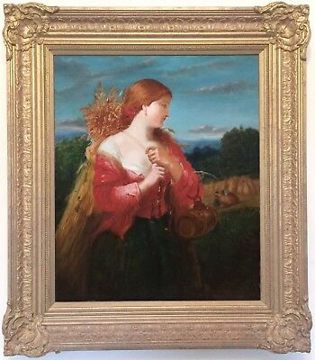 The Harvest Girl Antique Oil Painting 19th Century English School