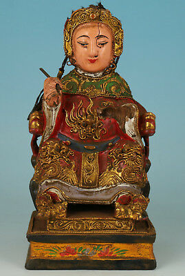 Chinese Old Wood Handmade Carved Girl Statue Figure
