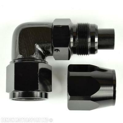 AN8 -8 90 Degree Bend Forged Braided Hose Fitting (Black) Oil Fuel Water