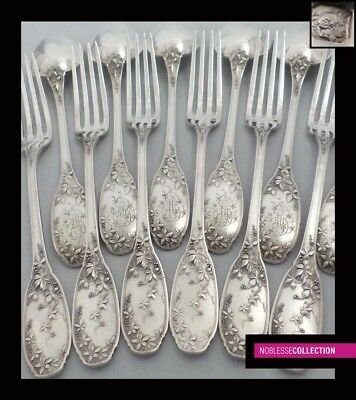 FINE ANTIQUE 1900s FRENCH STERLING SILVER DESSERT FLATWARE SET 12 pc Art Nouveau