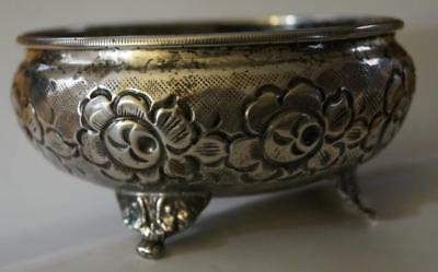 """SILVER Footed Bowl Repousse 800 Hallmarked 4.1"""" diameter 67 grams Good Conditio"""