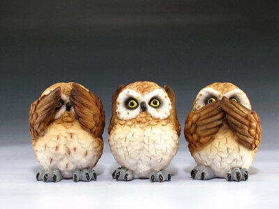 See Hear & Speak No Evil Owl Set Figurine Statue