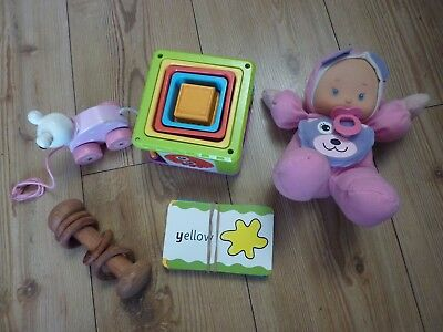 Small Bundle Baby Toy Stacking Nesting Cubes Rattle Flash Cards Pull Along Dolly