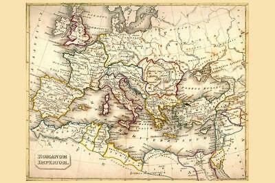 Antique style world map poster print size 36 x 24 sepia roman empire antique style map poster 24x36 inch gumiabroncs Images