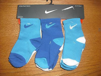Toddler Boys NWT NIKE Socks Ankle 6prs White Multi-Blues All Different Sz:2T-3T