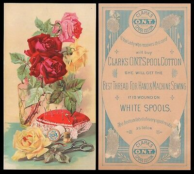 Clark's O.n.t. White Spools Cotton Thread Floral Victorian Trade Card