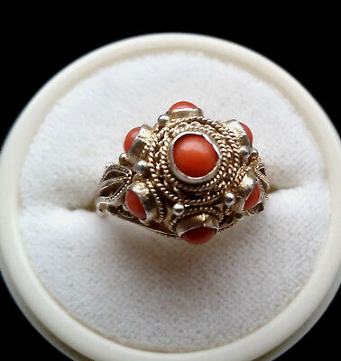 Vintage chin. Ring + 925 Sterling Silber + Koralle + silver
