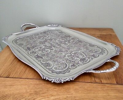 """Fine Quality 22"""" VINERS Of Sheffield Chased Silver Plated Butler Serving Tray"""