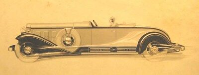 1931 Cadillac V12 Roadster Automobile ORIGINAL Styling Art Painting md3119